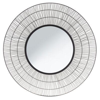 Nandi Iron Framed Round Wall Mirror, 100cm