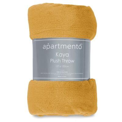 Apartmento Kaya Flannel Plush Throw, 127x152cm, Mustard