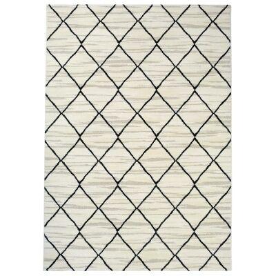 Tibet Lattice Modern Rug, 230x160cm, White/Black