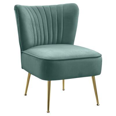 Tiffany Velvet Fabric Lounge Chair, Turquoise