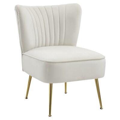 Tiffany Velvet Fabric Lounge Chair, White