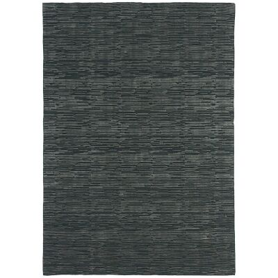 Timeless Stokes Hand Loomed Wool & Viscose Rug, 160x230cm, Charcoal / Grey