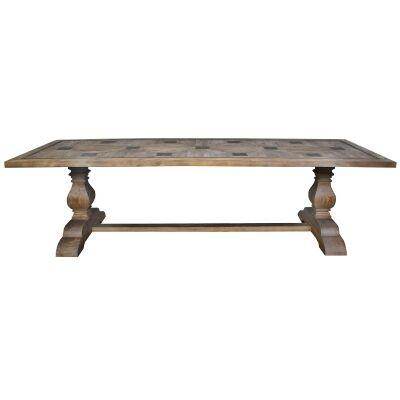 Julius Salvaged Elm Timber Trestle Dining Table, 280cm