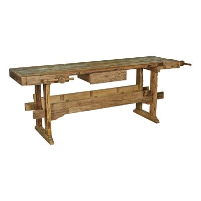 Ipsden Teak Timber Workbench Hall Table, 240cm