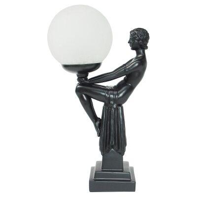 Angie Lady Figurine Decor Lamp, Black