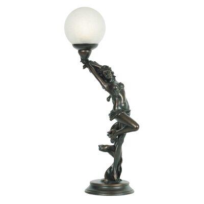 Cora Lady Figurine Decor Lamp, Bronze