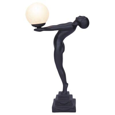 Doris Lady Figurine Decor Lamp, Black