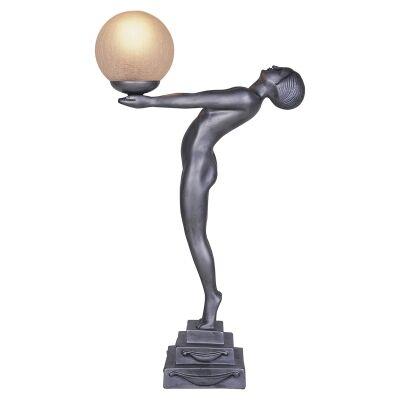 Doris Lady Figurine Decor Lamp, Gunmetal