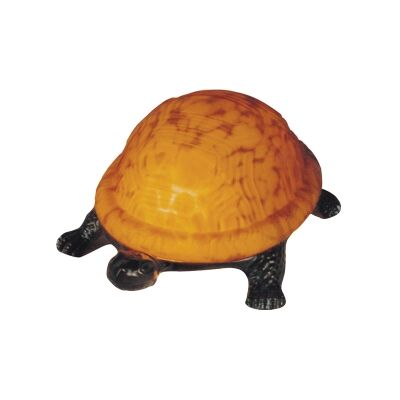 Tiffany Style Stained Glass Statue Table Lamp, Golden Shell Tortoise