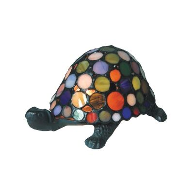 Tiffany Style Stained Glass Statue Table Lamp, Polka Dots Shell Tortoise