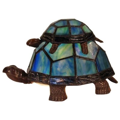 Tiffany Style Stained Glass Statue Table Lamp, Piggybacking Turtles