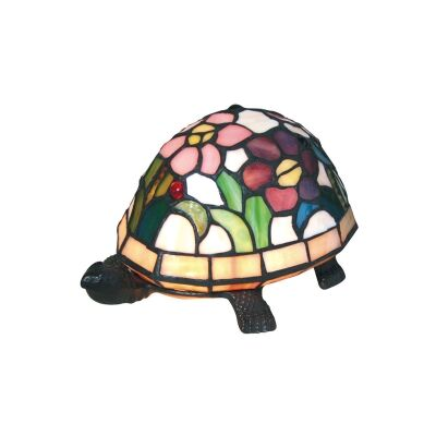 Tiffany Style Stained Glass Statue Table Lamp, Floral Shell Turtle