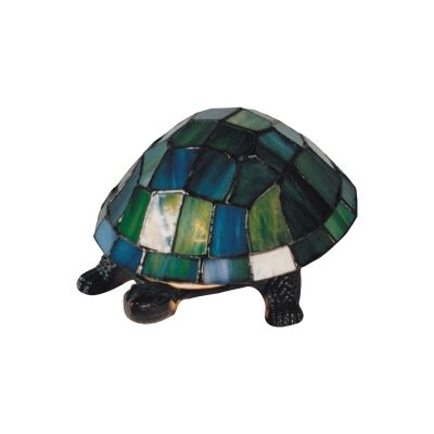 Tiffany Style Stained Glass Statue Table Lamp, Emerald Shell Turtle