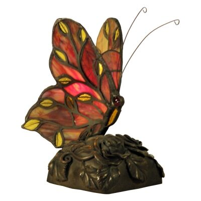 Tiffany Style Stained Glass Butterfly Table Lamp, Type B, Red