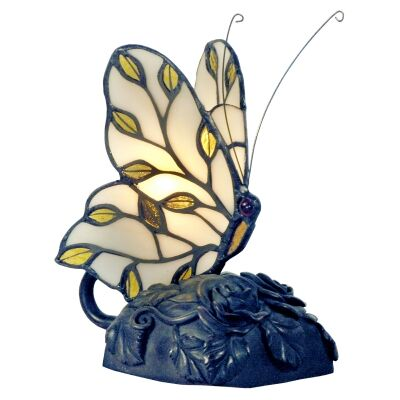 Tiffany Style Stained Glass Butterfly Table Lamp, Type B, Ivory