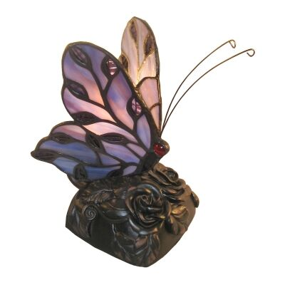 Tiffany Style Stained Glass Butterfly Table Lamp, Type B, Purple