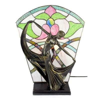 Mazie Tiffany Style Stained Glass Figurine Decor Lamp, Ivory