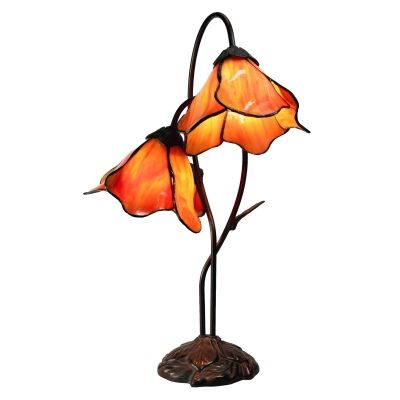 Lily of The Valley Tiffany Style Stained Glass Flower Table Lamp, Double Shade, Amber