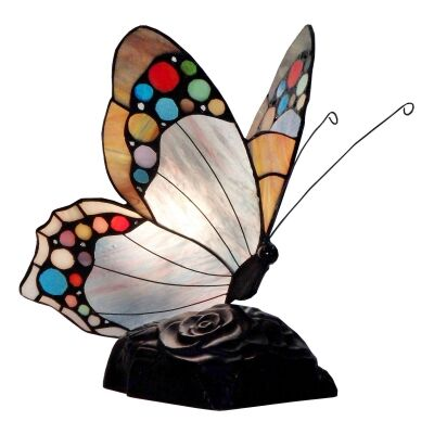 Tiffany Style Stained Glass Butterfly Table Lamp, Type E, Beige