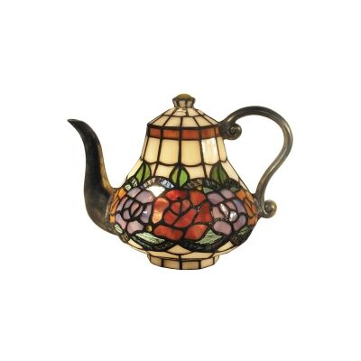 Tiffany Style Stained Glass Statue Table Lamp, Rose Garden Teapot