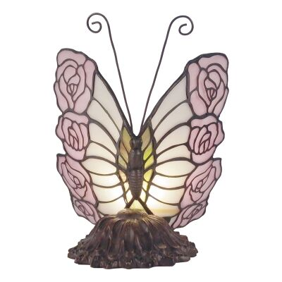 Tiffany Style Stained Glass Statue Table Lamp, Pink Rose Butterfly