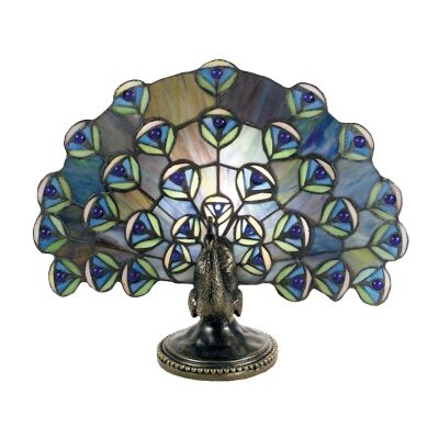 Tiffany Style Stained Glass Statue Table Lamp, Peacock