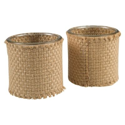Rover Jute & Glass Candle Holder, Set of 2