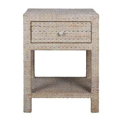 Savannah Rattan Bedside Table - White Wash