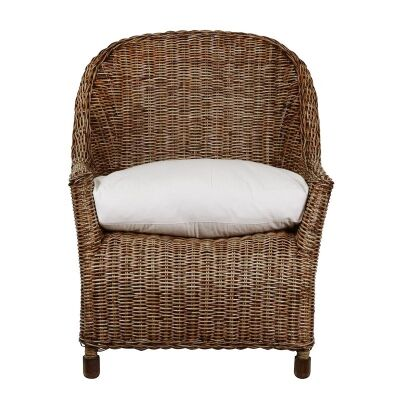 Savannah Rattan Lounge Armchair with Feather Cushion, Tobacco