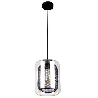 Tono Glass & Iron Mesh Pendant Light, Black