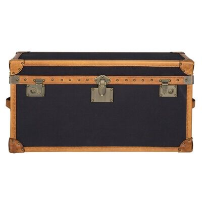Hampton Vintage Leather and Fabric Blanket Trunk Box
