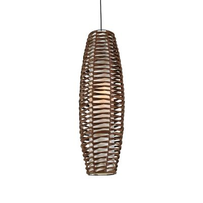 Tribe Woven Paper Prolate Spheroid Pendant Light, Large, Brown