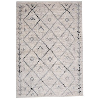 Trend Diamond Semi Shag Rug, 230x160cm, Cream