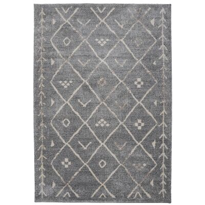 Trend Diamond Semi Shag Rug, 380x280cm, Grey