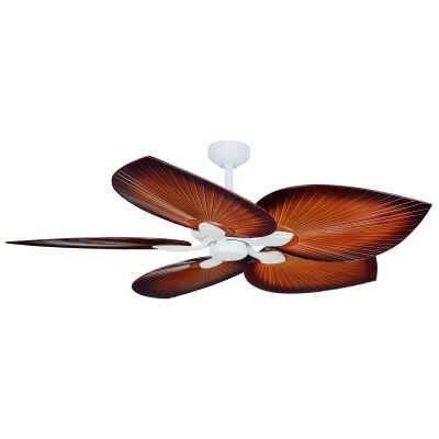 """Threesixty Tropicana Commercial Grade Ceiling Fan, 138cm/54"""", White / Brown"""