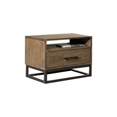 Alpine Metal & Timber Bedside Table
