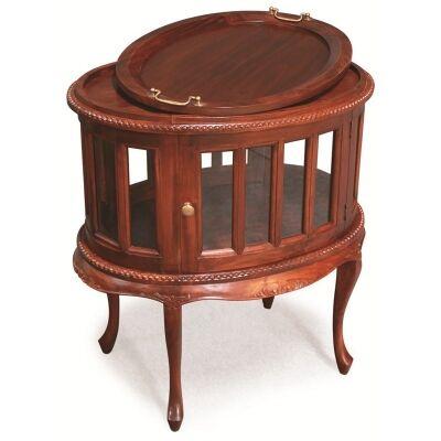 Oval Solid Mahogany Tea Table W-Cabriole Legs - Mahogany