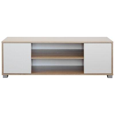 Seneca Wooden 2 Door TV Unit, 120cm, Natural / White