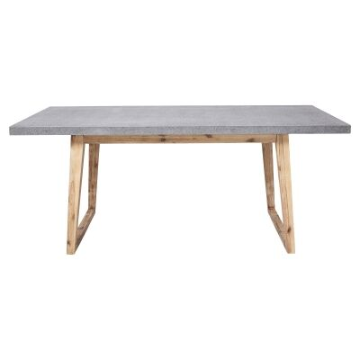 Bentley Cement Top Timber Indoor / Outdoor Dining Table, 180cm, Grey / Natural