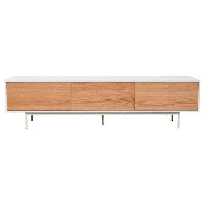 Misvar 1 Door 2 Drawer TV Unit, 200cm, White / Oak