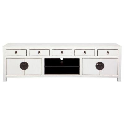 Ava Pine Timber 4 Door 5 Drawer TV Unit, 180cm, Distressed White