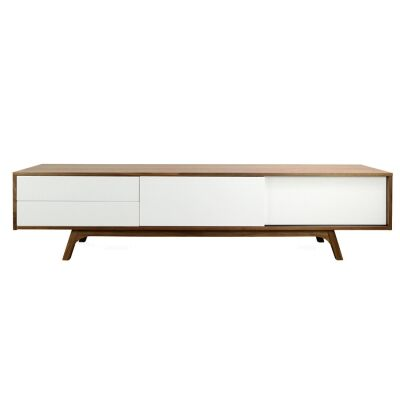 Campbell 2 Drawer Sliding Door Lowline TV Unit, 210cm, Walnut / White