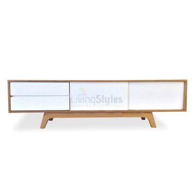 Campbell 2 Drawer Sliding Door Lowline TV Unit, 180cm, Oak / White