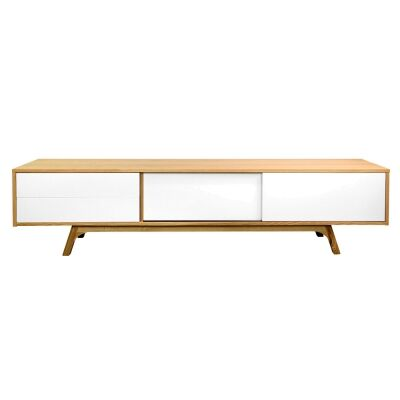 Campbell 2 Drawer Sliding Door Lowline TV Unit, 210cm, Oak / White