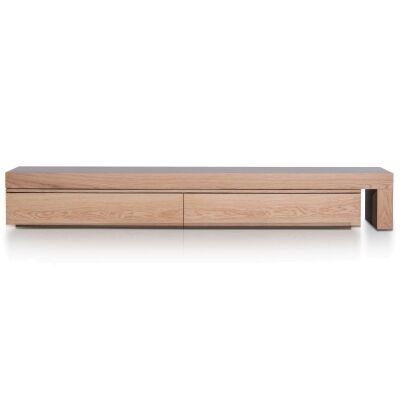 Keira 2 Drawer Extendable TV Unit, 240-420cm, Oak