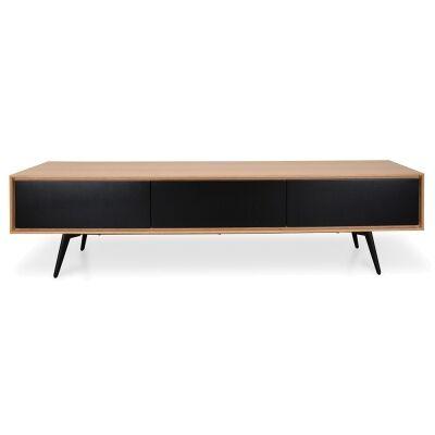 Seden Wooden 2 Drawer Flip Door TV Unit, 180cm, Oak / Black
