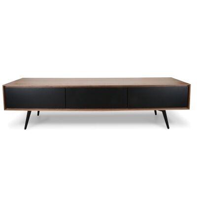 Seden Wooden 2 Drawer Flip Door TV Unit, 180cm, Walnut / Black