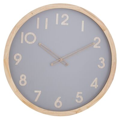 Riley Pine Timber Frame Round Wall Clock, 50cm, Natural / Grey