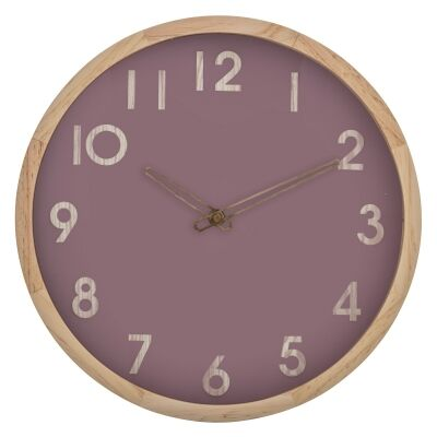 Riley Pine Timber Frame Round Wall Clock, 32cm, Natural / Mauve