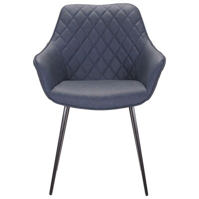 Toulouse Commercial Grade Faux Leather Dining Armchair, Blue